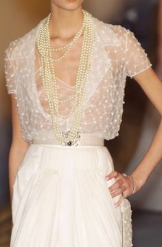 Chanel Couture Spring 2001 - EMBROIDERED AND EMBELLISHED SHEER BLOUSE. DELICATE SLIP DETAIL UNDERNEATH.