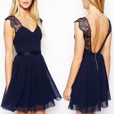 Mode féminine vêtements de travail 2014 été, sexy partie contraste bleu dentelle robe dos nu 2x e2751 dans  de  sur Aliexpress.com