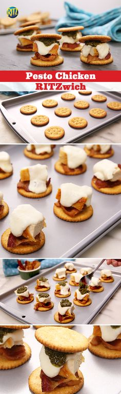 Paddy's Day, gather your green-clad family and friends together around… Ritz Recipe, Ritz Cracker Recipes, Low Carb Recipes, Cooking Recipes, Putting On The Ritz, Yummy Bites, Ritz Crackers, Appetizer Ideas, Pesto Chicken