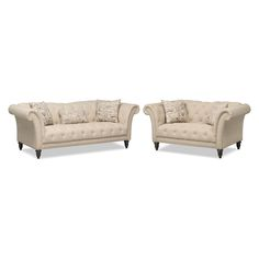 Charming Living Room Furniture   Marisol Sofa And Loveseat   Beige