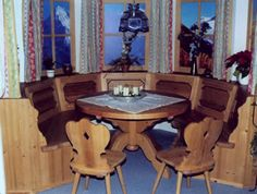 Bavarian dining nook. My Grandpa built one of these right into his kitchen!