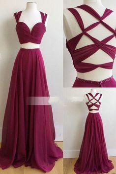 Two Piece Long Prom Dress, 2017 Burgundy Long