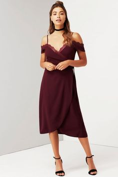 Girls on Film Wine Off The Shoulder Dress With Lace - Girls On Film from Little Mistress UK