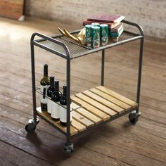 industrial serving cart - This industrial metal bar cart with slatted wood shelf will conveniently serve as a storage piece for your wine and liquor while its metal casters make for easy mobility for entertaining guests. Serving Cart On Wheels, Bar On Wheels, Modern Furniture, Furniture Design, Pine Furniture, Steel Furniture, Industrial Furniture, Recycled Decor, Cartwheel