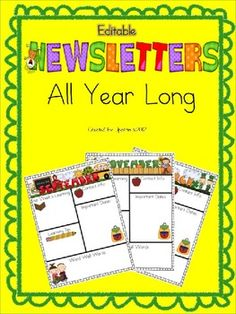 Editable Newsletters (now in Powerpoint AND Word) are a fantastic way to keep your parents informed on a weekly or monthly basis. This set includes easy to use newsletters that have bright, colorful monthly themes. I have included 4 variations of this newsletter so you can choose the one that is just right for your classroom.