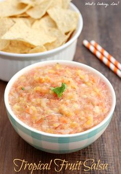 Tropical Fruit Salsa.  A delicious and easy appetizer that combines the flavors of pineapples, mangos, and papayas with salsa.  #sponsored ##HBProin @hamiltonbeach @amazon