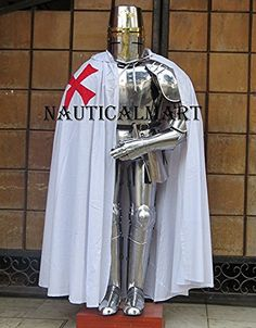 Medieval Full Suit of Armor Knight Combat Body Armour Century Halloween Costume Silver