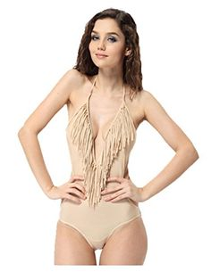 f9302f303eb52 Womdee Women Beach Bikini Monokini V Neck Tassel One Piece Swimwear (Nude