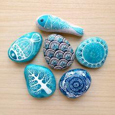 painted stones..airbrush ink...for KIKKULA, Bodrum...