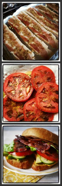Best Sandwich Ever – The Ultimate BLT Bacon – strips of bacon are crisped with a brown sugar/black pepper medley for sweet/salty/spicy perfection in every bite. Tomatoes – marinated in an Italian herb and balsamic dressing.  Spread -  fig jam and Dijon mustard spread.
