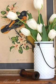 spring decor with white tulips