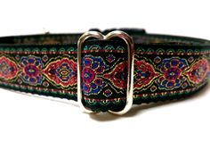 Adjustable dog collar 1 with fuschia gold blue turquoise by ELMEDO, $17.00