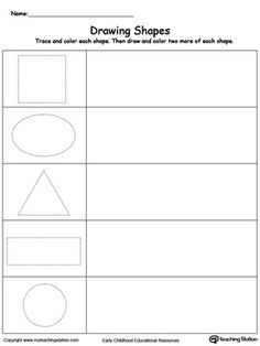 Help your child practice drawing shapes by first tracing the shape then drawing next to it.