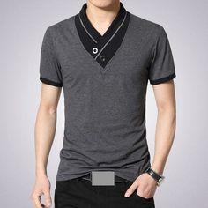 2016 T Shirts Men V Neck T-Shirt Brand Cotton Mens Patchwork tshirt Size Man Tees Tops Wholesale Free Shipping M40