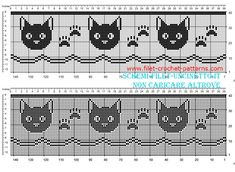 Cross Stitch Borders Free filet crochet border pattern with cat faces and fingerprints width 34 squares Filet Crochet, Crochet Motifs, Crochet Cross, Crochet Chart, Thread Crochet, Crochet Stitches, Cat Crochet, Crochet Faces, Cross Stitch Borders