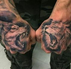 43 Wolf and Lion Tattoo