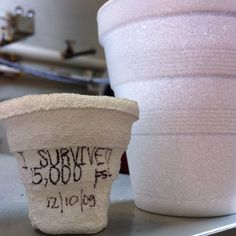 Here's what a high pressure food processing machine does to a styrofoam cup. It will also kill all bacteria and shuck an oyster or clam so you can eat it raw without worry. Food science is neat.