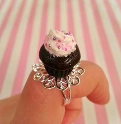 Chocolate Cupcake Ring by DreamlandMiniatures on Etsy, $17.00