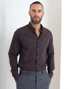 The small gingham checked Plaquet Du Monde shirt from Luke 1977 available here in shiraz/purple has a button down front and single button fastening pocket to the left chest with faux flap detail and a small logo stud. Denim Button Up, Button Up Shirts, Gingham Check, Button Down Collar, Occasion Wear, Shirt Dress, Mens Tops, Clothes, Fashion