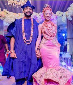 Check Out Stunning Nigerian Traditional Wedding Attire - Daily Advent Nigeria Nigerian Wedding Dress, African Wedding Attire, Nigerian Bride, African Attire, African Fashion Dresses, African Dress, Nigerian Weddings, Nigerian Men, African Weddings