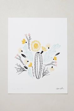 Botanical Print - anthropologie.com. llustrator and graphic designer Caitlin McClain creates colorfully-quirky art from her Austin, Texas studio using archival quality inks and premium artisan paper. The limited edition prints you see here were inspired by the flora and fauna indigenous to the four major regions across the United States, and signed by the artist herself.