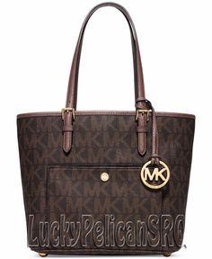 Michael Kors Jet Set Medium PVC Snap Pocket Tote Bag  Brown Dusty Rose NWT #MichaelKors #TotesShoppers