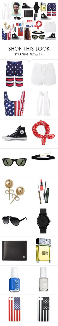 """""""His & Hers: 4th of July: Contest Version"""" by photographystyle on Polyvore featuring Topshop, Russell Athletic, Converse, Ray-Ban, Bling Jewelry, Clinique, Gucci, Victorinox Swiss Army, Moschino and Essie"""