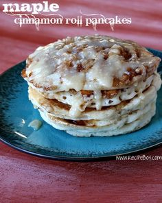 Pancakes and cinnamon rolls, oh yeah! When I make these I'm going to top it with ice cream then I will have all three of my favorite foods in one bite.