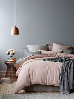 Wonderful Tips: House Interior Painting White living room paintings with wood trim.Bedroom Paintings Geometric interior painting tips thoughts.Interior Painting Tips People. Dream Bedroom, Home Bedroom, Master Bedrooms, Grey Wall Bedroom, Blush Bedroom Decor, Bedroom Ideas Grey, Scandi Bedroom, Decor For Grey Walls, Copper Bedroom Decor