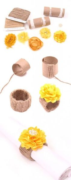 COZINHA || Anéis de guardanapo | Rolo de papel; Barbante rústico; Flor; Cola