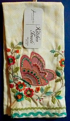 Spring Butterfly Artistic Accents Kitchen Tea Towel Embroidered