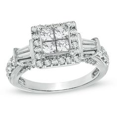 1-1/2 CT. T.W. Princess-Cut Quad Diamond Frame Engagement Ring in 14K White Gold