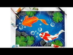 This video shows how to paint a simple and easy koi fish pond. Learn how to paint simple koi fishes. Paint koi fish with Acrylic on canvas Pond Drawing, Koi Fish Drawing, Butterfly Drawing, Fish Drawings, Easy Canvas Art, Easy Canvas Painting, Simple Acrylic Paintings, Koi Painting, Seashell Painting