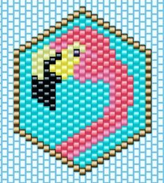 My flamingo is gone to other horizons . Let's go to pearl another! Bead Loom Patterns, Peyote Patterns, Beading Patterns, Beading Tutorials, Miyuki Beads, Motifs Perler, Beaded Banners, Perler Bead Templates, Hama Beads Design