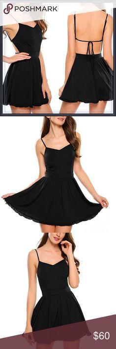 🆕 Open Back Black Fit and Flare Dress ➖SIZE: Small, Medium, Large, XL/1X , XXL/2X   ❌NO TRADE   875409 Dresses Mini