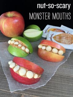 Nut-So-Scary Monster Mouths. A simple and healthy Halloween snack made from apples, nut butter and yogurt covered raisins.