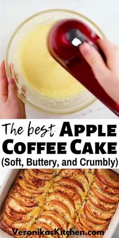 One of my favorite apple desserts is this scrumptious Apple Coffee Cake. It's made with a delicious sour cream cake base and topped with cinnamon apple slices. The best part of this recipe is that it's super easy to make and you will have a lovely treat for your family. Apple Cake Recipes, Best Dessert Recipes, Fun Desserts, Fall Recipes, Holiday Recipes, Baking Recipes, Easy Apple Desserts, Delicious Desserts, Cinnamon Coffee