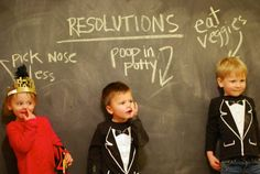 Kids New Years resolutions photo idea. Good for embarrassing them later in life :-) : Kids New Years resolutions photo idea. Good for embarrassing them later in life :-) Funny Calendars, New Year Photoshoot, New Years Eve Pictures, Funny Christmas Pictures, Funny Pictures With Captions, Christmas Humor, Christmas Cards, Holiday Photos, Funny Kids