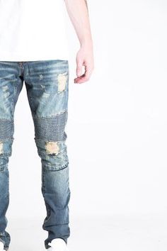 8c9884bc32 Vintage blue stone washed biker denim - Lightly distressed - 2 front zipper  pockets -. Farmer Nadrág