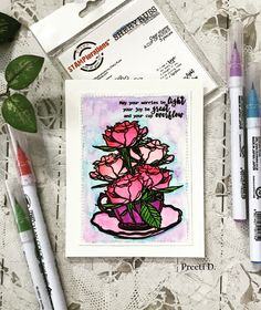 #floral #card #crafting #craft #art #artist #painting #watercolor #stamping #stamp #color #cup #tea #tealovers #roses #summer2017clh