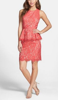 Coral peplum @Nordstrom