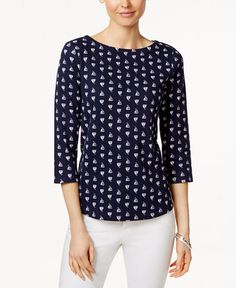Charter Club Sailboat-Print Boat-Neck Top, Only at Macy's