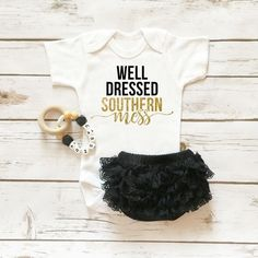 Well Dressed Southern Mess Onesie Sparkle Baby Girl Outfit with Ruffle Bottom Lace Bloomers   Baby Girl Clothes   Browse the entire collection at www.shopcassidyscloset.com