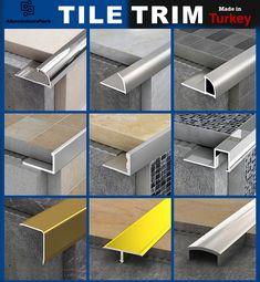 Floor Design, Ceiling Design, Tile Design, House Design, Transition Flooring, Tile Stairs, Tile Trim, Herringbone Backsplash, Bathroom Interior Design