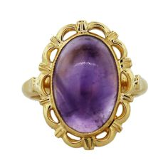 18k Yellow Gold Amethyst Cabochon Ring - pair with our favorite two tone purple nail art