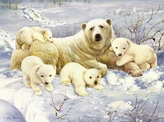 Polar Bear with Cubs Babies Arctic Animals DIY. Fast S&H by OurCraftAddictions Arctic Animals, Cute Animals, Easy Paintings, Original Paintings, Image Fruit, Image Halloween, Number Drawing, Painting Snow, Image Nature