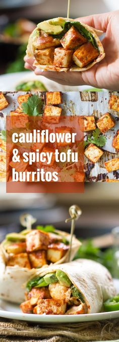 These hearty cauliflower tofu burritos are filled with creamy avocado slices, garlicky roasted cauliflower and baked tofu, all smothered in spicy tomato sauce.