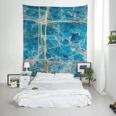 Apatite mineral wall hanging, fabric wall decor with a macro photograph of a blue mineral. For boho decoration or cool room. Fabric Wall Decor, Hanging Fabric, Dorm Tapestry, Tapestries, Affordable Wall Art, Cool Rooms, Boho Decor, Mineral, Printing On Fabric
