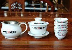 Набор для чайной церемонии Kamjove KP-80. Гайвань, чахай, чайное ситечко и шесть керамических пиал.