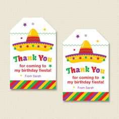 Fiesta Party Favor Tags Personalized Printable by paperspice, $7.00